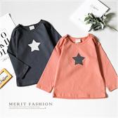 純棉 韓版簡約星星落肩長袖上衣 舒適 百搭 質感 星星 男童 女童 長袖 薄長袖 童裝 哎北比童裝