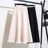熱賣針織半身裙 秋冬長裙2021新款裙子中長款半身裙女冬季高腰流蘇冬裙黑色針織裙 曼慕