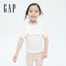 Gap女幼童 純棉荷葉邊蝙蝠袖T恤 689390-白色
