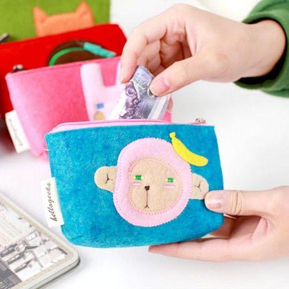 ►森林家族 韓版可愛卡通動物 毛氈毛絨 鑰匙零錢包 手機包【B9058】