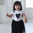 韓版黑白配愛心短袖T恤親子裝(小孩)