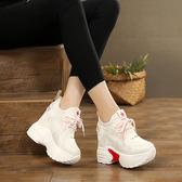 增高鞋 內增高女鞋10cm超厚底坡跟休閒網紅單鞋運動小白鞋女【韓國時尚週】