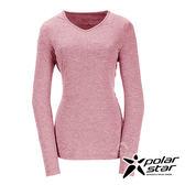 PolarStar 女 遠紅外線V領長袖排汗衣 (吸濕快乾│膠原蛋白│台灣素材│抗靜電)『深粉紅』P17228