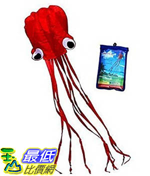 [106美國暢銷兒童軟體] Hengda Kite-Beautiful Large Easy Flyer Kite for Kids - Red Mollusc octopus