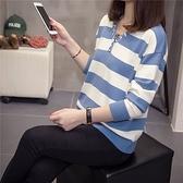 長袖針織早秋新款大碼修身彈力減齡針織衫藍白條紋V領上衣顯瘦毛衣.4F072.9015皇潮天下