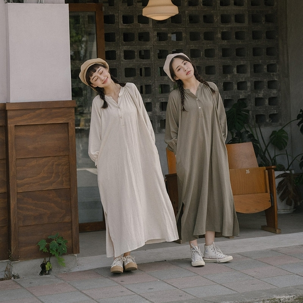 Queen Shop【01085393】中中山領設計側開衩造型棉麻洋裝 兩色售*現+預*