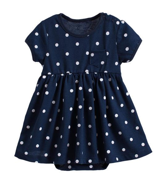 童裝 現貨 純棉深藍點點口袋裙式連身衣【20062】