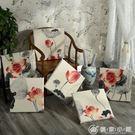 中式紅木沙發坐墊棉麻田園風實木椅子可拆洗...