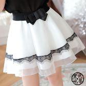 短裙 新款夏女裙子蕾絲高腰學生歐根紗百褶a字裙蓬蓬裙褲裙短裙半身裙·黑色地帶