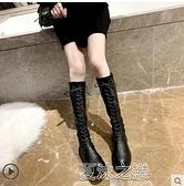 長筒靴女 長筒靴女秋冬季新款加絨百搭顯瘦瘦過膝高筒中筒馬丁騎士長靴