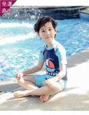 兒童泳衣 男童中大童寶寶游泳衣泳褲套裝男童分體沙灘防曬三件套泳裝