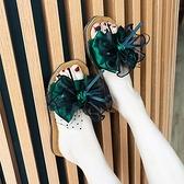 拖鞋女夏2021新款韓版牛筋軟底一字涼拖蕾絲蝴蝶結外穿平底沙灘鞋 快速出貨