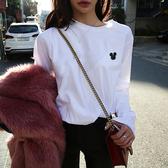 竹節棉長袖T恤秋冬裝新款上衣新款白色t恤女長袖竹節棉韓版寬松米奇打底衫 嬡孕哺