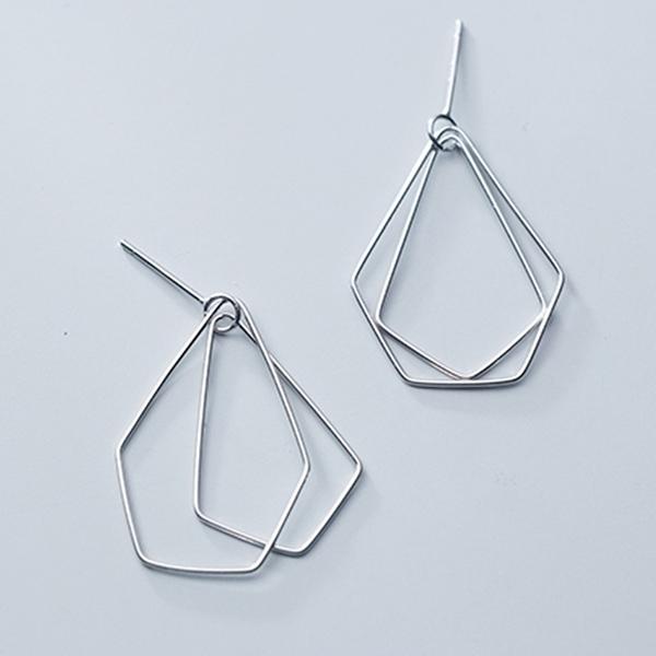 925純銀 幾何不規則五邊形 耳環耳針-銀 防抗過敏 無耳洞可改夾