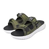 KANGOL 男女款軍綠色涼拖鞋-6055220173