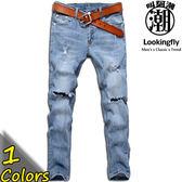 復古藍破壞刷白彈性牛仔長褲【SD33211】