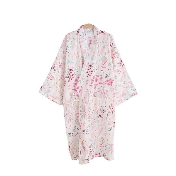 睡裙 夏薄款純棉紗布睡袍情侶日式男和服浴衣全棉睡衣開衫長睡裙汗蒸服-Ballet朵朵