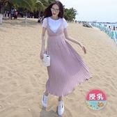 漂亮小媽咪 哺乳長裙 【B3093】 兩件式 百褶 哺乳衣 吊帶裙 修身 長裙 孕婦裝 背心裙
