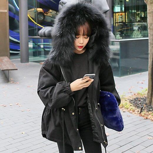 鋪棉 外套 韓版 chic 實拍 毛領 寬鬆 長大衣 花漾小姐【現貨】