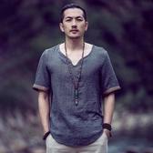 優一居 棉麻上衣男 寬鬆短袖T恤復古體恤(7色 S-5XL)