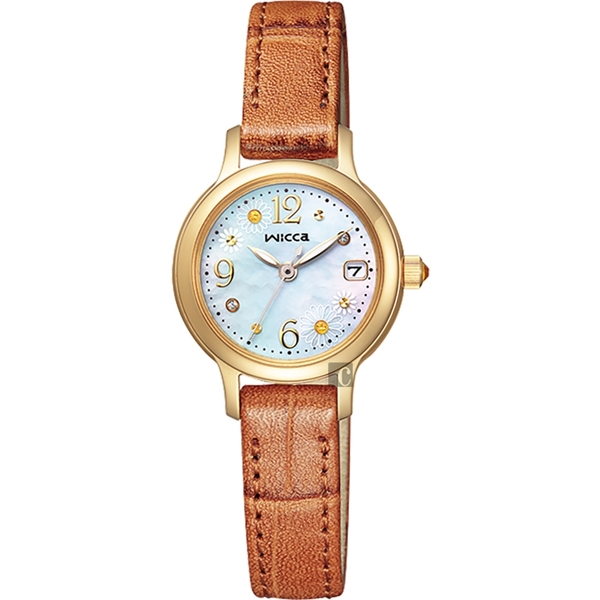 限量附錶帶 CITIZEN Wicca 小雛菊限定款太陽能晶鑽女錶-珍珠貝x白/24mm KH4-921-90