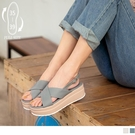 《SD0275》台灣製造.交叉鞋面輕量厚底涼鞋 OrangeBear