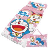 【享夢城堡】哆啦A夢 天空漫遊系列-精梳棉冬夏兩用兒童睡袋(粉)