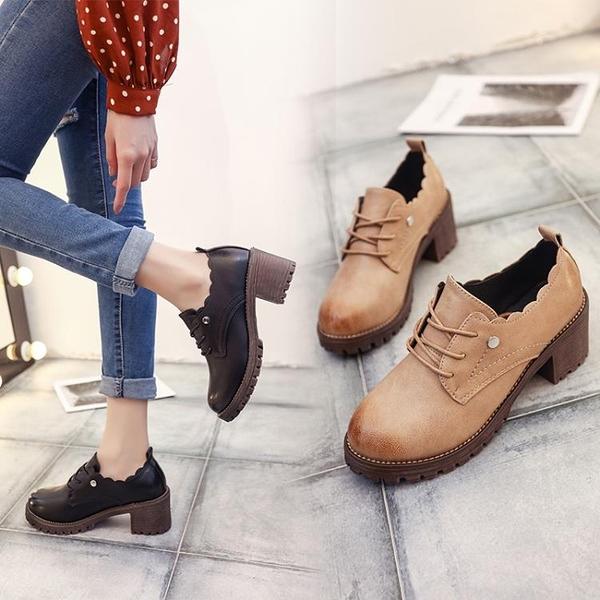 牛津鞋 2021秋季新款英倫風復古圓頭粗跟小皮鞋女學生百搭高跟系帶單鞋女 8號店