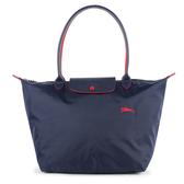 Longchamp 1899 LE PLIAGE刺繡尼龍水餃包L(海軍藍)480209-556