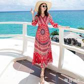 海邊度假沙灘裙高腰修身顯瘦波西米亞印花長裙民族風復古洋裝女 zm1537【每日三C】