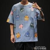 印花短袖男潮流潮牌韓版學生寬鬆加肥加大碼夏季款男士T恤男ins潮 依凡卡時尚
