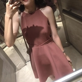 售完即止-無袖洋裝夏裝氣質女人味掛脖連身裙無袖露肩高腰裙子女裝秋庫存清出(12-24S)