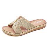 涼拖鞋 拖鞋女夏外穿新款歐美風厚底一字H拖鞋涼拖沙灘鞋女防滑軟底
