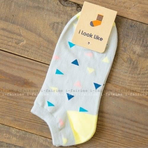 5天出貨★混棉女襪 三角形幾何船襪(一套兩雙)★ifairies【28013】