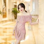洋裝-一字肩連衣裙女夏2018新款顯瘦氣質名媛性感露肩亮片裙子