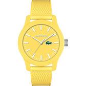 Lacoste 12.12系列撞色活力時尚腕錶-黃/43mm L2010774