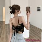 露背上衣 吊帶背心女內搭復古絲巾印花不規則打底夏季黑色性感露背外穿上衣-Ballet朵朵