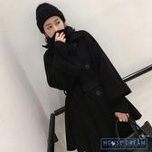 斗篷外套女 黑色雙排扣斗篷大衣女2020秋冬系帶小個子短款外套女 HD