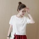棉麻T恤 夏文藝寬鬆純色短款亞麻料上衣服潮民族風棉麻圓領t恤女-Ballet朵朵