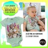 【摩達客】(預購)美國進口The Mountain  貓咪哦耶 精梳純棉嬰幼兒短袖包屁衣