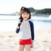 新款防曬大童兒童泳衣時尚日系棒球寶貝女童分體泳衣游泳帽三件套 森活雜貨