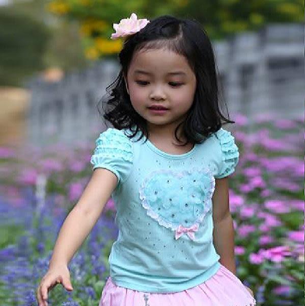 ★童裝大亨★511123 愛心花朵燙鑽泡泡短袖T-Shirt~顏色:粉、藍、白(共3色)