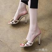夏季外穿高跟魚嘴涼拖鞋女小碼31 32 33大碼40 41一43半托涼鞋女  一米陽光