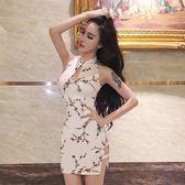 夜店女裝性感修身包臀顯瘦優雅氣質碎花改良式旗袍連身裙女 奇思妙想屋