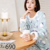 秋冬睡衣 蜜桃兩件式睡衣+睡褲(兩色:粉、藍)-保暖、居家服_蜜桃洋房
