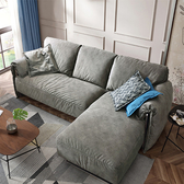 林氏木業輕奢荷蘭絨雙扶手可拆洗L型三人布沙發(附抱枕)RAB2K-墨灰色