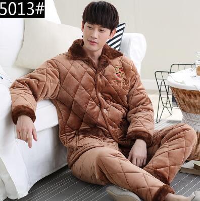 熊孩子ஐ冬季中年男士珊瑚絨夾棉加厚睡衣中老年加絨超厚法蘭絨家居服套裝 (5013#)