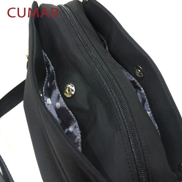 【CUMAR女包】輕量防潑水尼龍三隔層斜背小包-黑