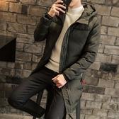 夾克外套-連帽冬季中長版保暖純色夾棉男外套2色73qa4【時尚巴黎】
