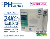PHILIPS飛利浦 LED DN020B 24W 4000K 自然光 全電壓 20cm 舒適光 崁燈 _ PH430739